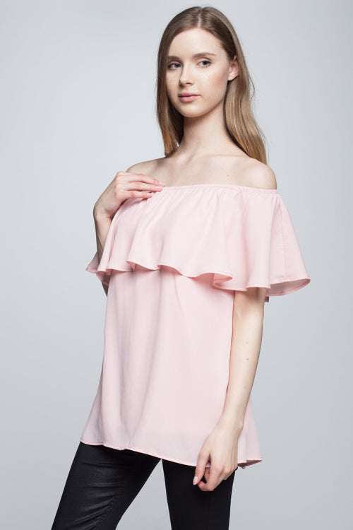 off shoulder ruffle top blush