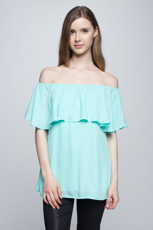 off shoulder ruffle top in mint