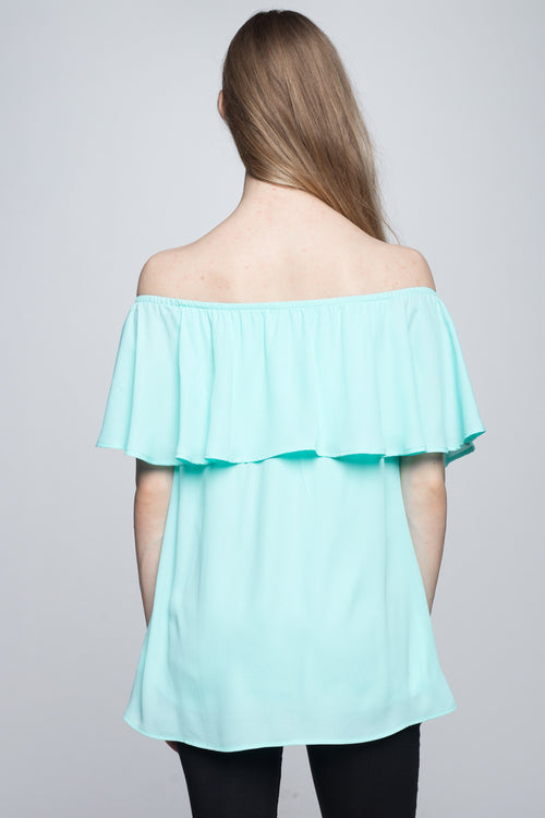 Morning Bloom Off Shoulder Top Mint