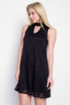 Throw on the Day to Night Dress in Black Lace, and dazzle everyone you meet! This chic little shift dress is the prefect all occasion dress. Black lace, with keyhole detail.