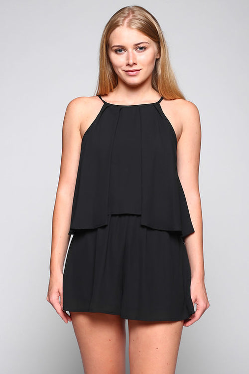 High neck romper with deep v black gameday georgia mizzou gamecocks