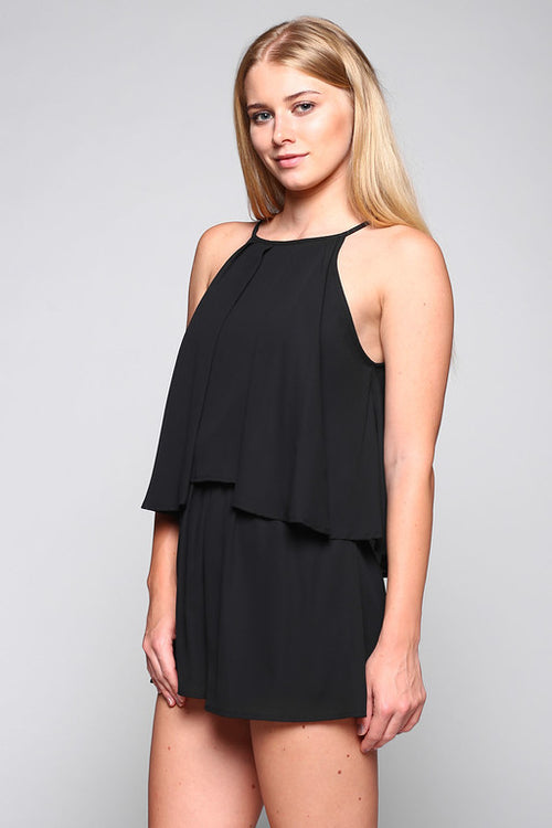 High Neck Tiered Romper in Black