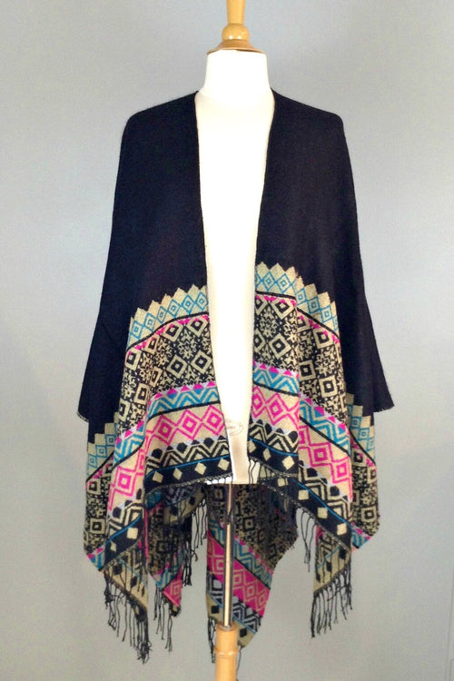 Peace & Love Poncho- Black