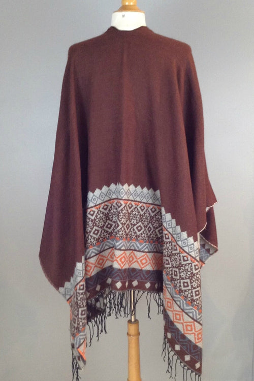 Peace & Love Poncho- Brown