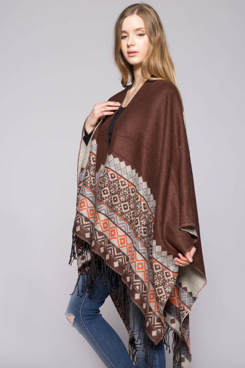 Peace & Love Poncho- Ink