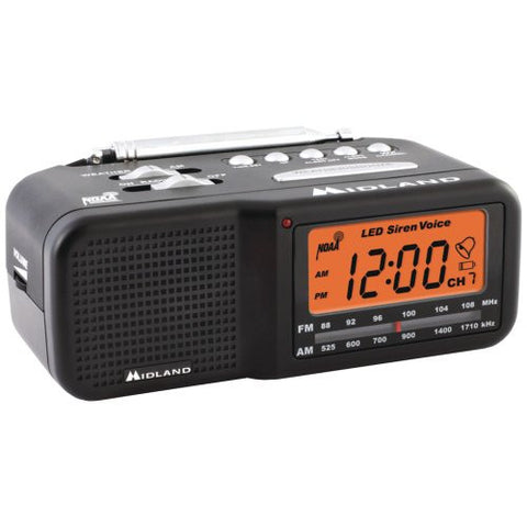 1 - 7-Channel Desktop Alarm Clock/Weather Alert Radio with AM/FM Radio, 7-channel, all-hazard alert weather radio, AM/FM radio tuner, WR11