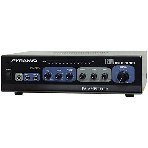 1 - Amp with Microphone Input (120 Watt), Phono/aux input selector, Phono & aux RCA input jacks, PA205
