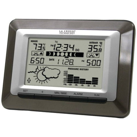1 - Wireless Sun/Moon Forecast Station, 24 forecast icons based on temp & air pressure readings, Barometric pressure tendency arrow, WS-9250U-IT-CBP