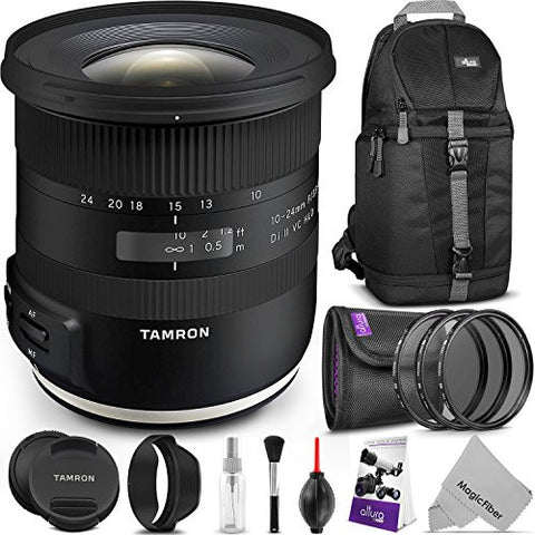 (3) Tamron 10-24mm f/3.5-4.5 Di II VC HLD Lens for CANON EF Cameras w/ Advanced Photo and Travel Bundle