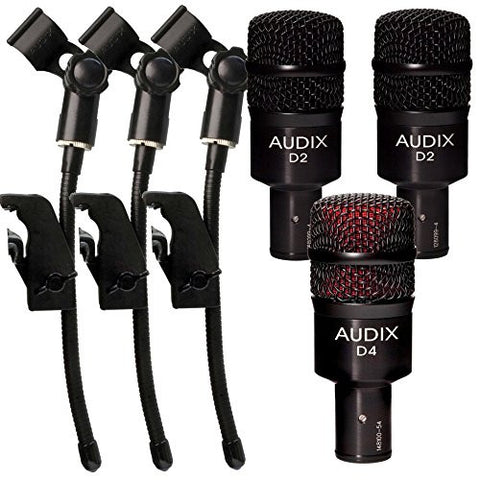 (2) Audix D2 Dynamic Microphones with D4 Hypercardioid Microphone and (3) DVice Gooseneck Mic Clips