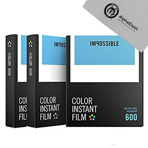(3 PACK) Impossible Color Instant Film for 600 - White Frame, 24 Exposures + JC Wolf FiberCloth