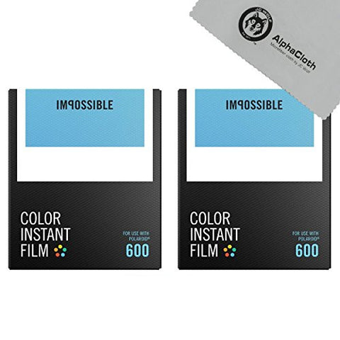 (2 PACK) Impossible Color Instant Film for 600 - White Frame, 16 Exposures + JC Wolf FiberCloth