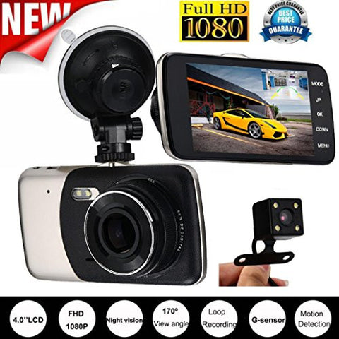 4'' IPS HD 1080P Car Dual Lens Camera DVR, KOOZIMO Video Recorder Rear Dash Cam G-sensor