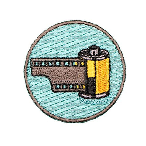 """35mm Film"" Embroidered Patch by: Awesome Cameras"