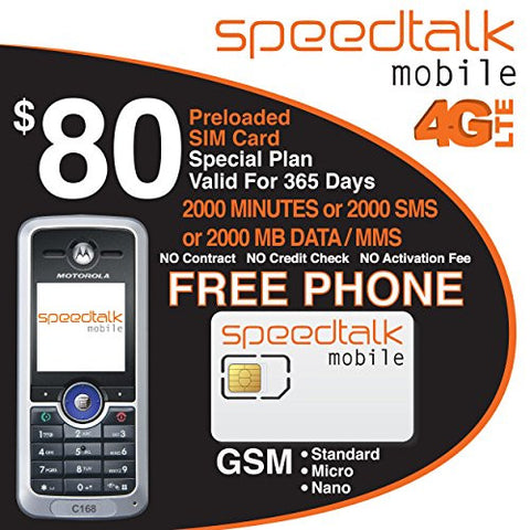 $80 Prepaid SIM Card 2000 Mins Talk with Motorola Phone C186i - NO CONTRACT