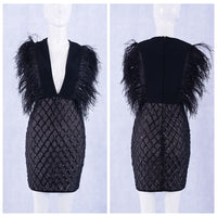 V-Neck Feather Dress - SHOPLOULOU.COM ⎮ SHOP LOULOU ⎮SHOPLOULOU