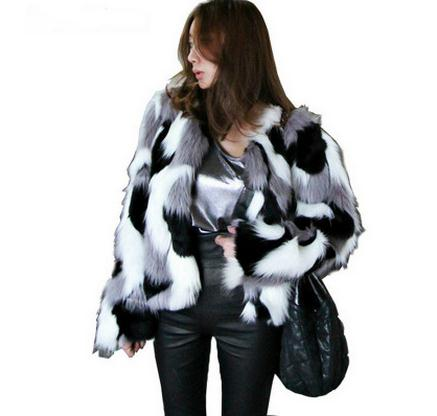 Women Mixed Color Man-Made Fur Jacket Casual Plus Size Faux Fur Coats Female Short Section Fur Outwear Casaco De Pele Falso Ck43 - SHOPLOULOU.COM ⎮ SHOP LOULOU ⎮SHOPLOULOU
