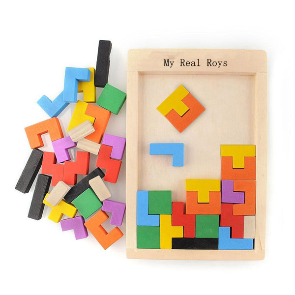 Wooden Multi-Color Tetris Toy