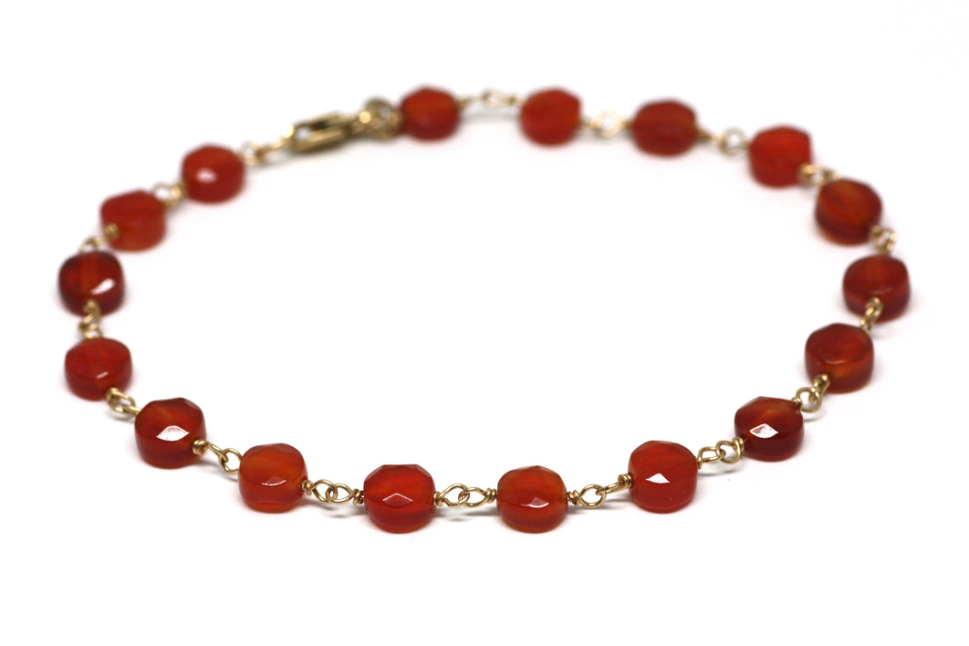 Carnelian Bracelet in Wire Wrapped Gold