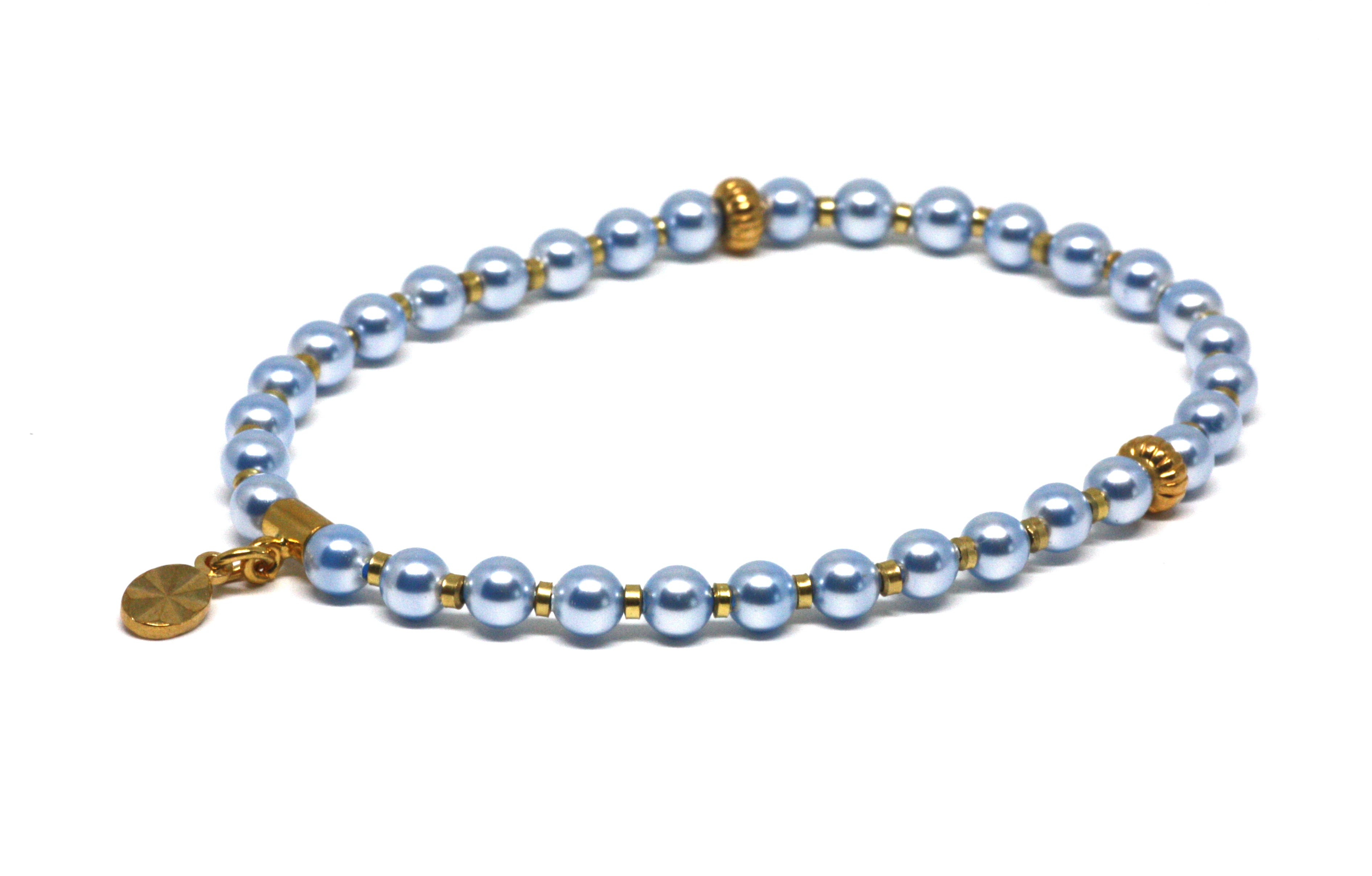Baby Blue Pearl and Gold Wrist Tasbih