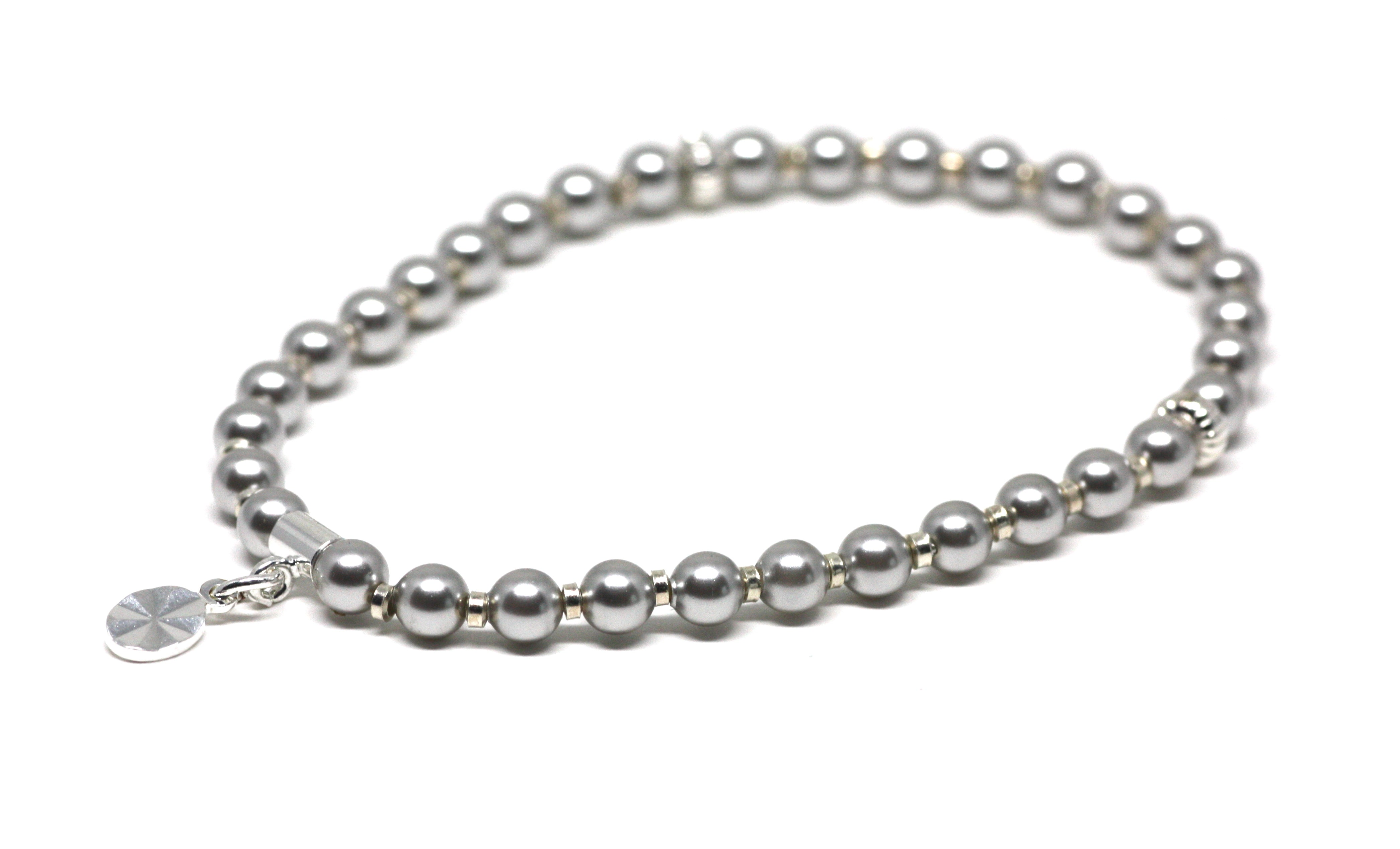 Light Gray Pearl and Silver Wrist Tasbih