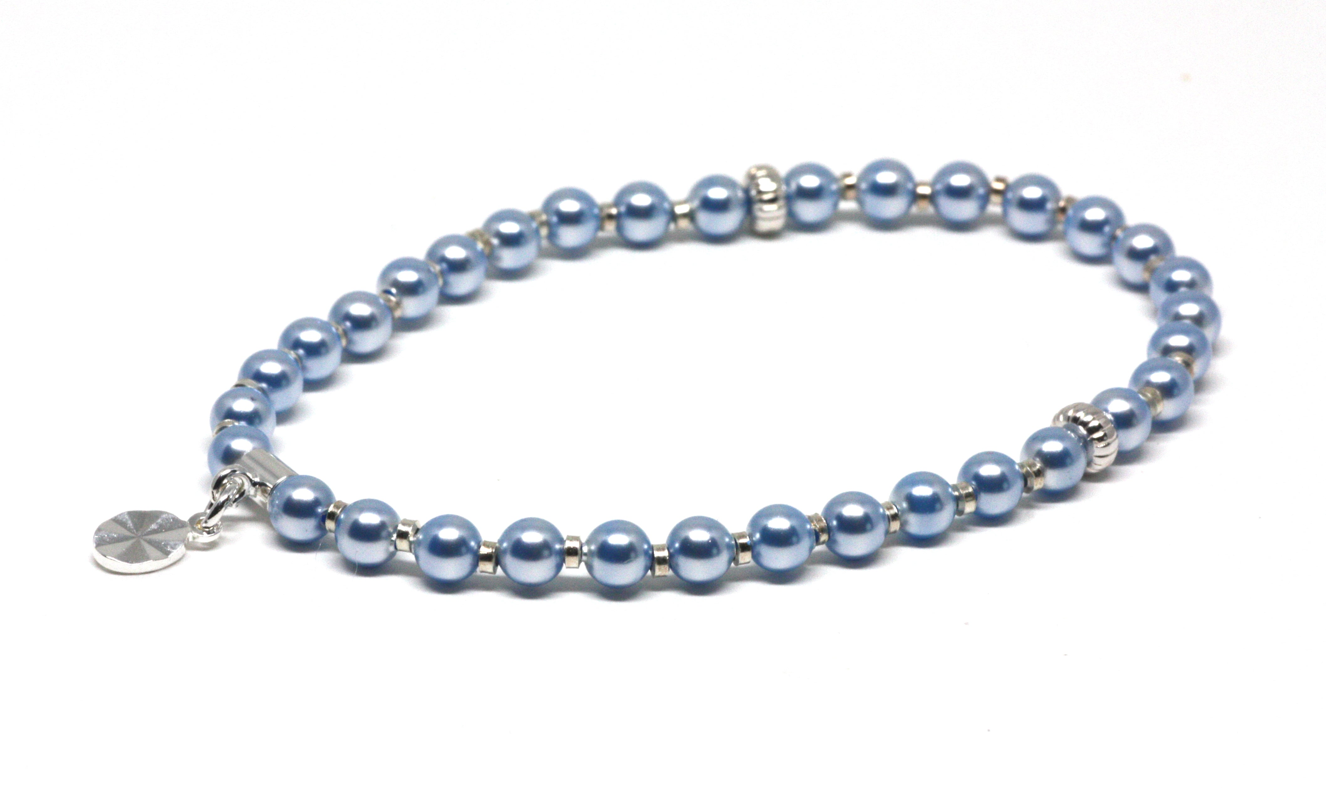 Baby Blue Pearl and Silver Wrist Tasbih