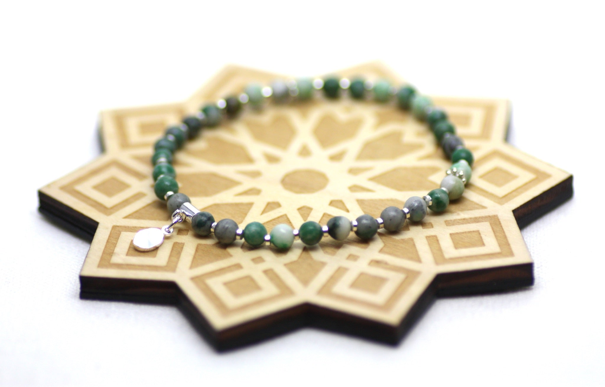 Ching Hai Jade and Silver Wrist Tasbih
