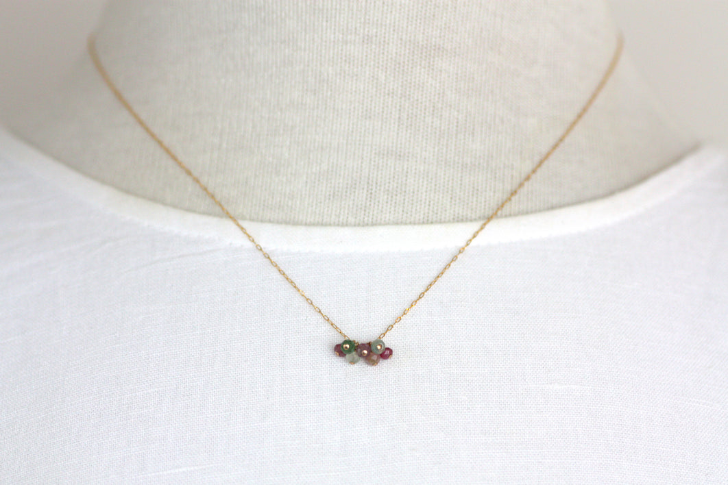 Watermelon Tourmaline Mini Cluster Necklace
