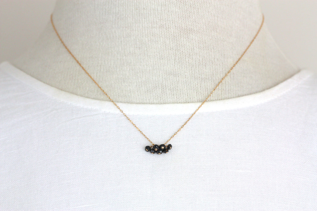 Black Spinel Mini Cluster Necklace