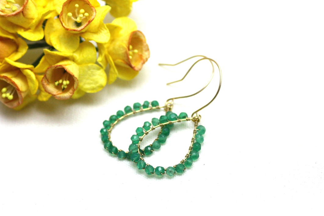 Green Onyx Wire Wrapped Teardrop Earrings
