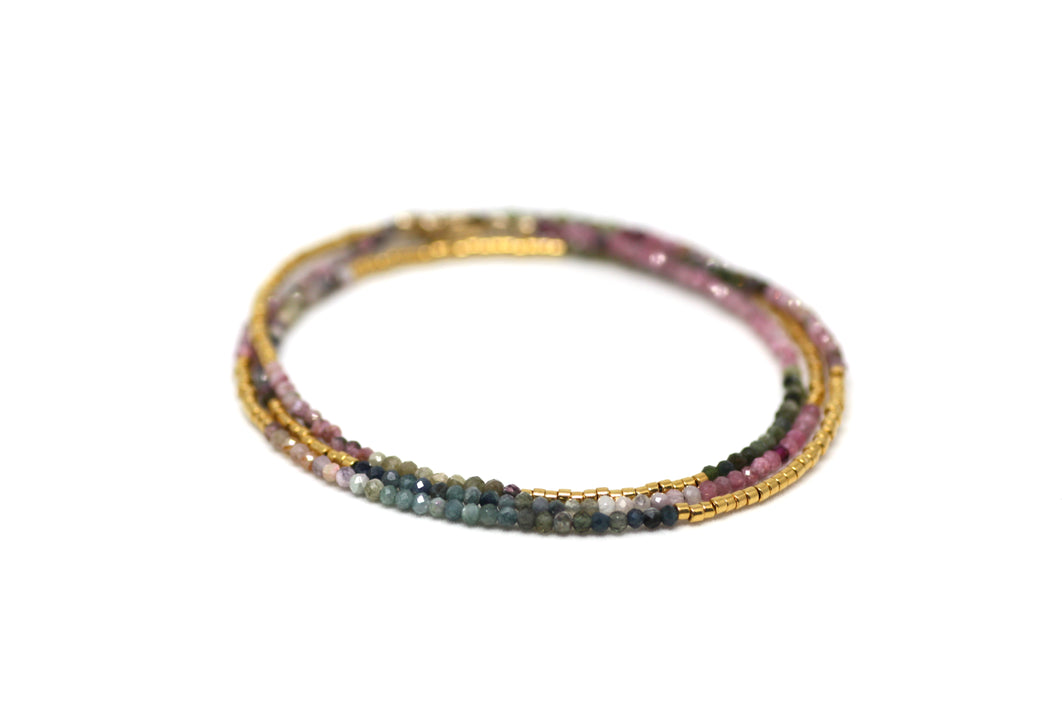 Watermelon Tourmaline and Gold Wrap Bracelet