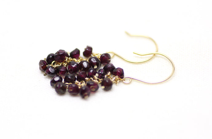 Deep Red Garnet Cluster Earrings