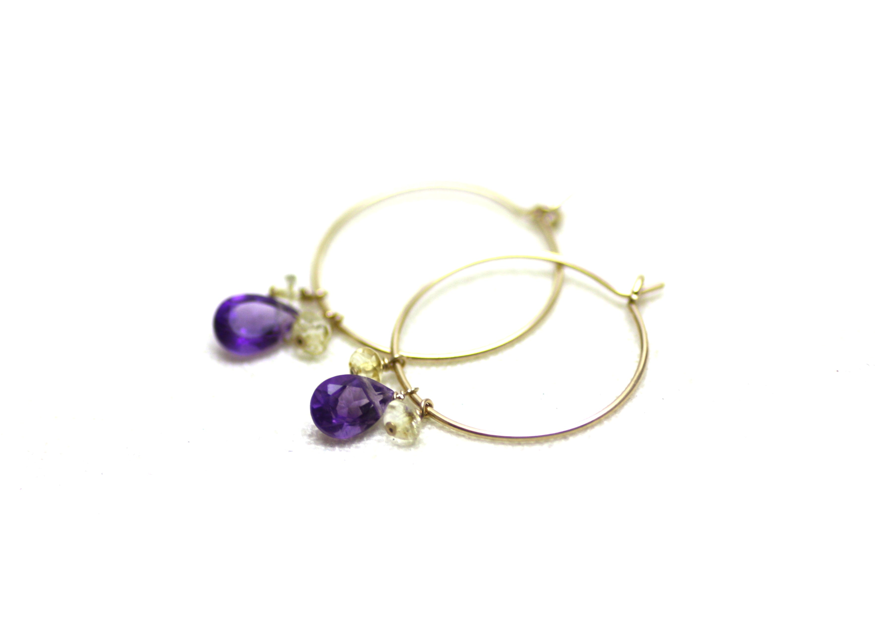 Gold Filled and Teardrop Gemstone Hoop Earrings CLEARANCE