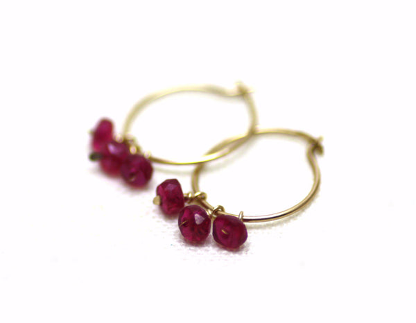 gold hoop earrings with rubies
