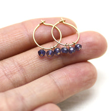 Iolite Small Hoop Earrings in Gold