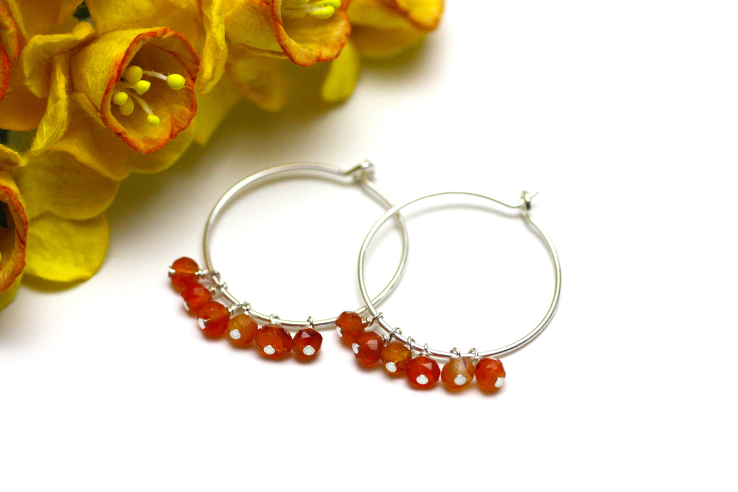 Carnelian Hoop Earrings in Silver