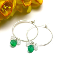 Green Onyx and Moonstone Hoop Earrings in Silver