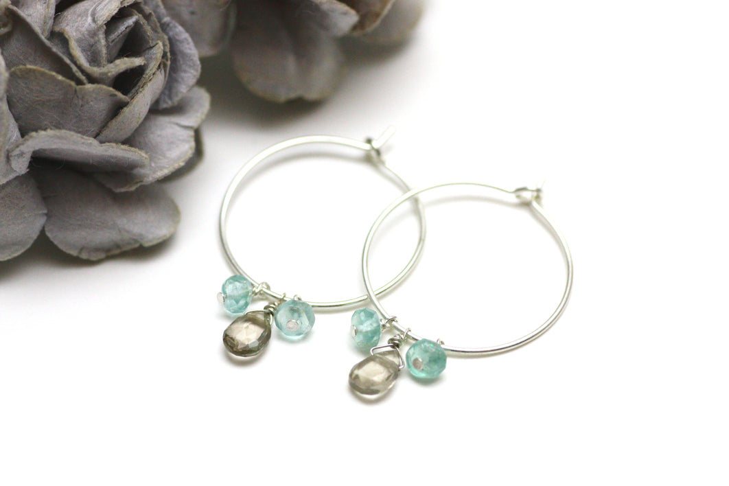 Smoky Quartz and Blue Apatite Hoop Earrings in Silver