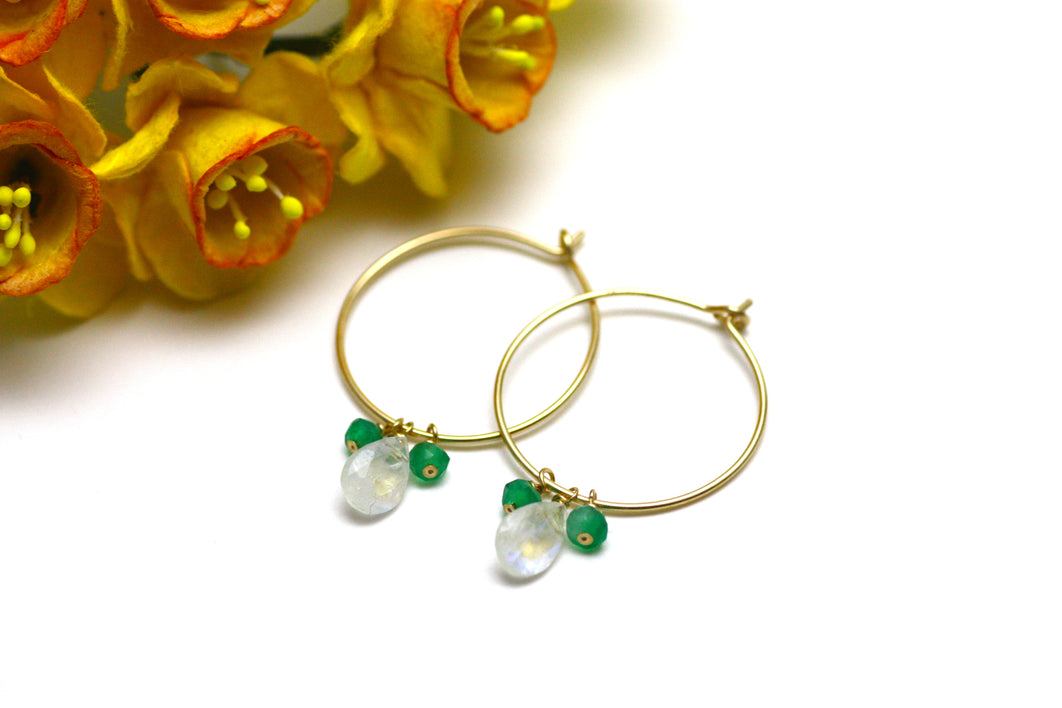 Moonstone and Green Onyx Hoop Earrings in Gold