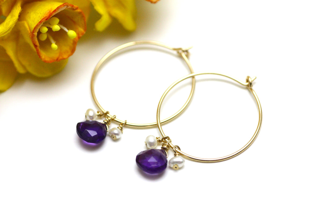 Amethyst and Pearl Hoop Earrings in Gold