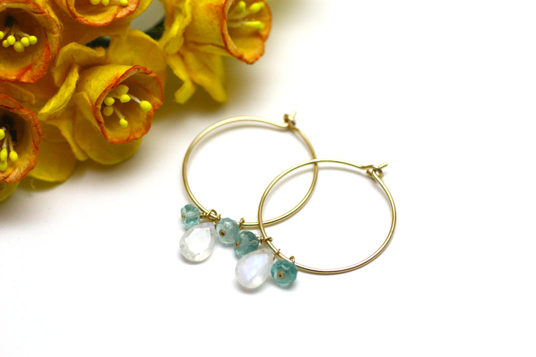 Moonstone and Blue Apatite Hoop Earrings in Gold
