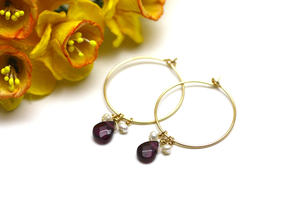Garnet And Pearl Hoop Earrings in Gold