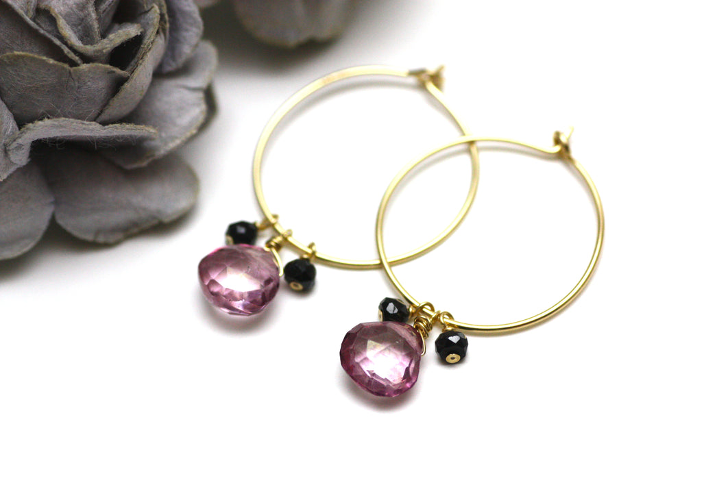 Pink Quartz and Black Spinel Hoop Earrings in Gold