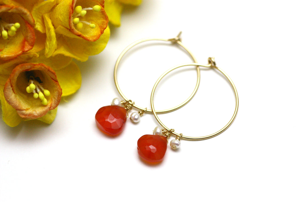 Carnelian and Pearl Hoop Earrings in Gold