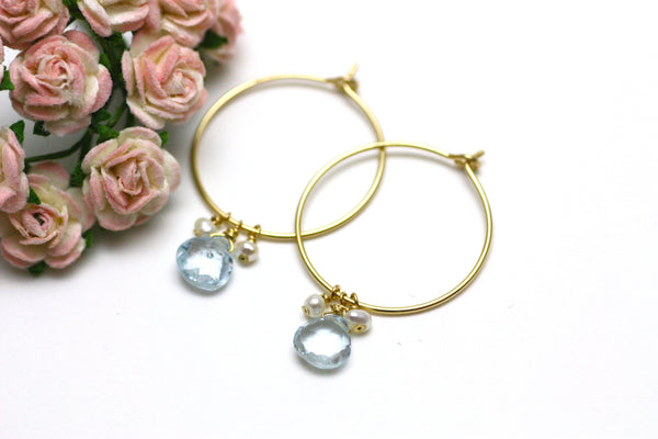 London Blue Topaz and Pearl Hoop Earrings in Gold
