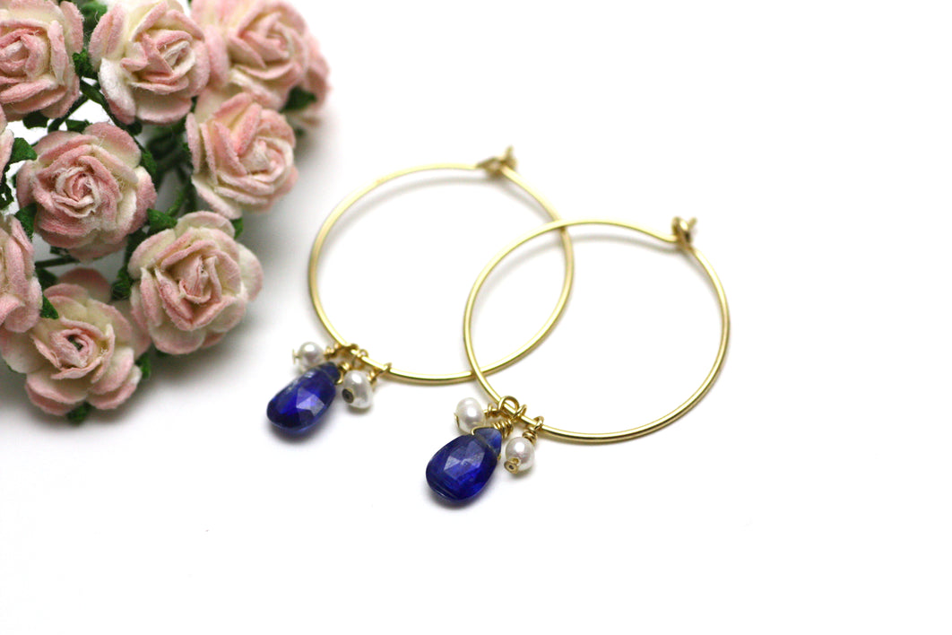 Kyanite and Pearl Hoop Earrings in Gold