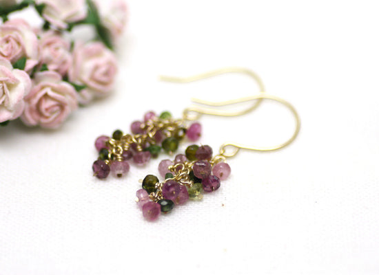 Watermelon Tourmaline Cluster Earrings