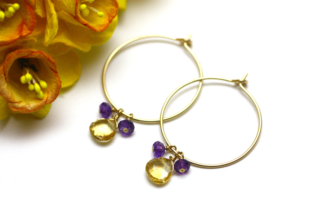 Citrine and Amethyst Hoop Earrings in Gold