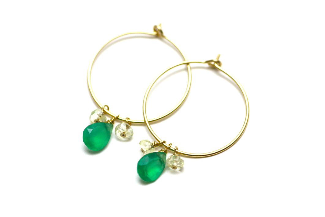 Green Onyx and Citrine Hoop Earrings in Gold