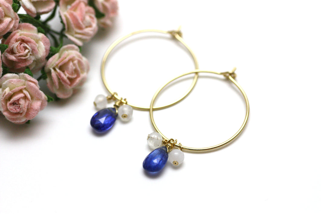 Kyanite and Moonstone Hoop Earrings in Gold